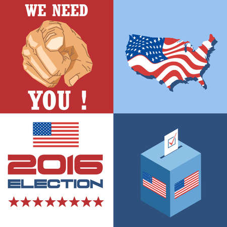 vote box: Usa 2016 election card with country map, vote box, and we need you slogan with hand. Digital vector image