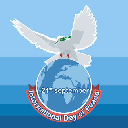 top of the world: Vector International day of Peace. White dove with green branch on top of world map, over blue background.