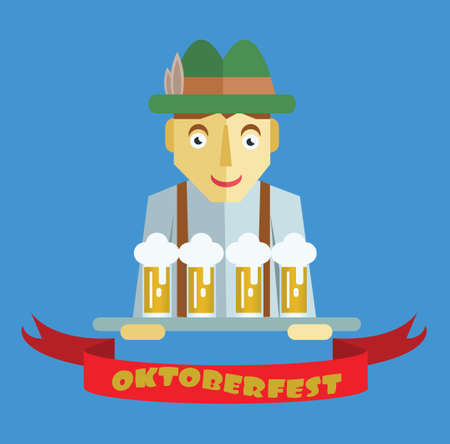 Vector Oktoberfest beer festival with cartoony hunter character, red ribbon and glasses of beer.