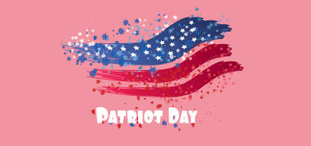 Vector Patriot Day, with blue and red stripes and stars over pink background.