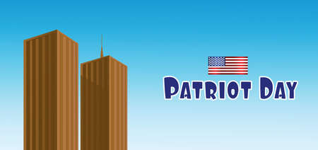 Vector Patriot Day, with usa flag and twin towers over blue background. Illustration