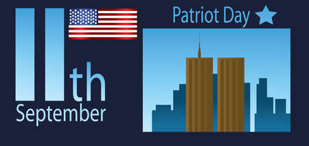 twin: Vector Patriot Day, with usa flag and twin towers over blue background. Illustration