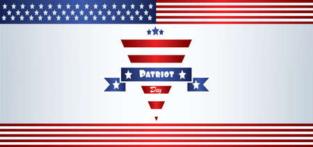Vector Patriot Day, with blue and red stripes and stars over silver background.