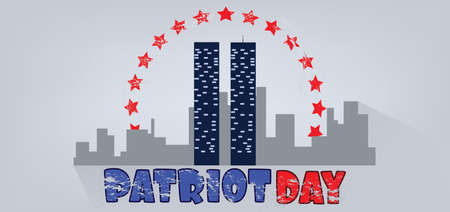 Vector Patriot Day, with red stars, usa flag and twin towers over silver background.