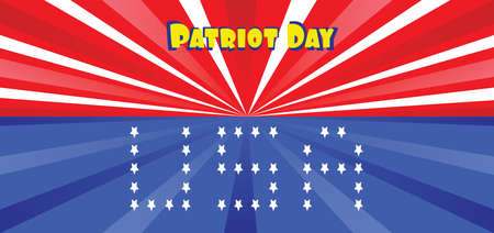 11th: Vector Patriot Day, with blue and red stripes and stars and USA letters.