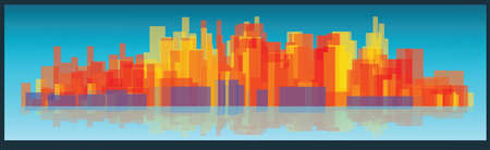 tall buildings: Vector cityscape tall buildings on a long strip widescreen over blue background with reflection