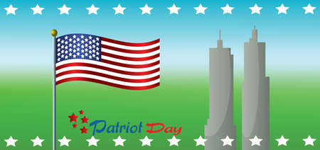 twin: Vector Patriot Day, with usa flag and twin towers over green and blue background. Stock Photo