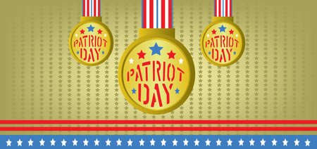 Vector Patriot Day, with blue and red stripes and gold medals over khaki background. Stock Photo