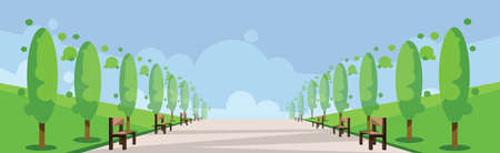 clouds scape: Vector abstract green landscape with alley, a road and benches in a park, flat style.