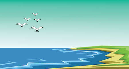 clouds scape: Vector abstract green landscape with sea and birds flying, sand and seashore, flat zigzag style.