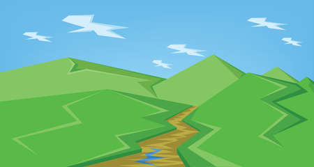 Vector abstract green landscape with a brown river and green hills with blue sky, flat style.