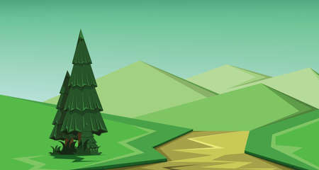 graphic art: Vector abstract green landscape with a green pine tree, brown river and green hills, flat zigzag style.