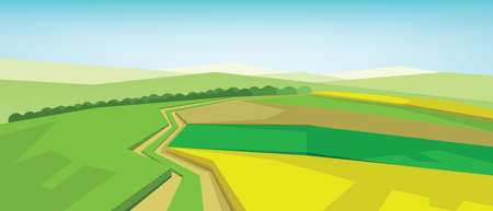 green fields: Vector abstract green landscape with yellow fields, hills and roads, flat zigzag style.