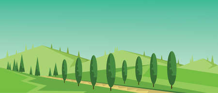 Vector abstract green landscape with alley, hills and roads, flat zigzag style.