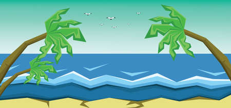 Vector abstract green landscape with sea, palm trees and flying birds, sand and seashore, flat zigzag style.