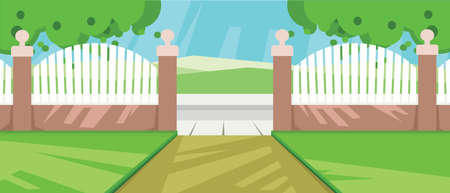 clouds scape: Vector abstract yard with green garden and a fence at a farm.
