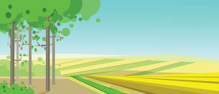 clouds scape: Vector abstract green landscape with yellow fields and a forest, flat zigzag style. Illustration