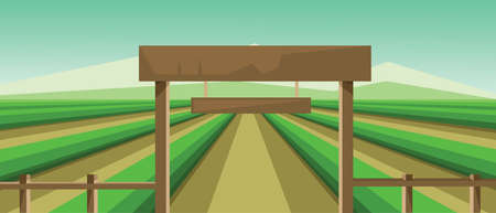 clouds scape: Vector abstract landscape with green fields and a wooden fence at a farm.
