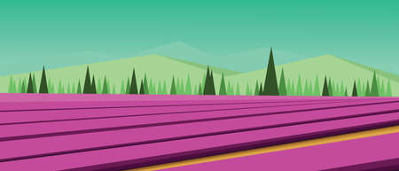 Vector abstract green landscape with pink fields, hills and roads, flat zigzag style. Illustration