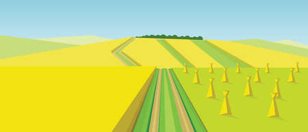 Vector abstract green landscape with yellow fields, hills, roads and ricks of hay, flat zigzag style.