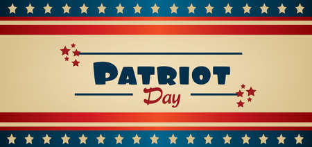 Vector Patriot Day, with blue and red stripes and red stars.