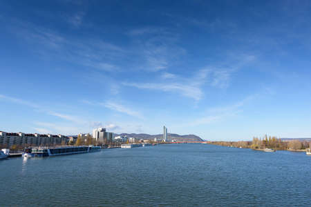 Danube river view with ferryboat in Vienna, Austria Stock Photo