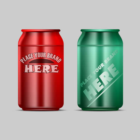 drink can: Vector red and green aluminium beverage drink can mockup ready for your design
