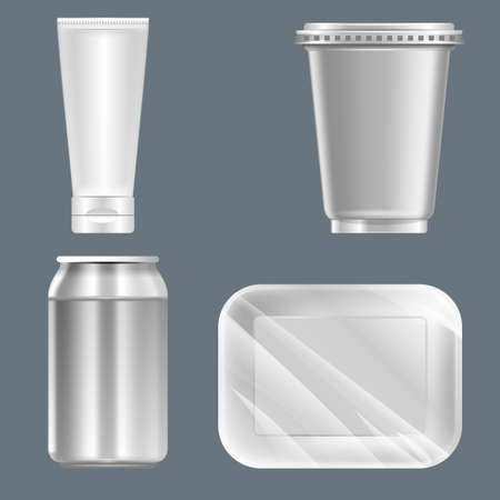milk pail: Vector set of silver plastic can with beverage can, food container and tube mockup ready for your design Illustration
