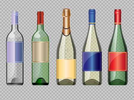 unopened: Vector set of colored transparent glass alcohol bottle with caps for wine mockup ready for your design