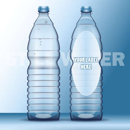 bottled: Vector set of transparent plastic blue liquid bottle with caps for mineral water mockup ready for your design