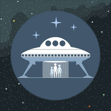 ship sign: Digital vector with alien coming from a space ship sign, over background with stars, flat style Illustration