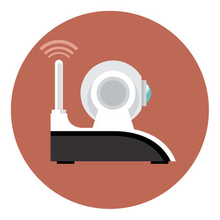 Digital vector white wifi and web camera with antenna icon, flat style. Illustration