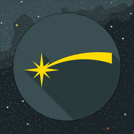 Digital vector yellow comet falling icon, over background with stars, flat style. Illustration