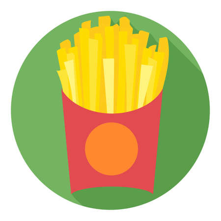 potatoe: Digital vector potatoe french fries chips red pack in a green circle, flat style.