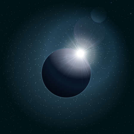 eclipse: Digital vector planet earth icon with eclipse, over stelar background, flat style.