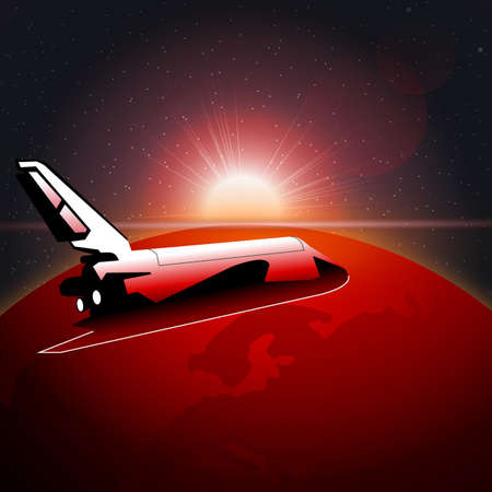 earth moving: Digital vector planet earth icon with red light and shuttle moving in space, over stelar background, flat style.