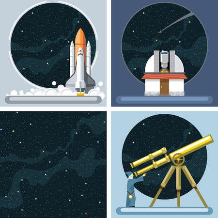 argento vettore digitale cosmo icone razzo set con il lancio, antico osservatorio, COMMET, antenna e lo spazio vuoto su sfondo stelar, stile piatto. Vettoriali