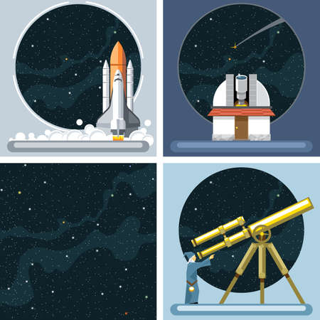 observatory: Digital vector silver cosmos rocket icons set with launch, ancient observatory, commet, antenna and empty space over stelar background, flat style.