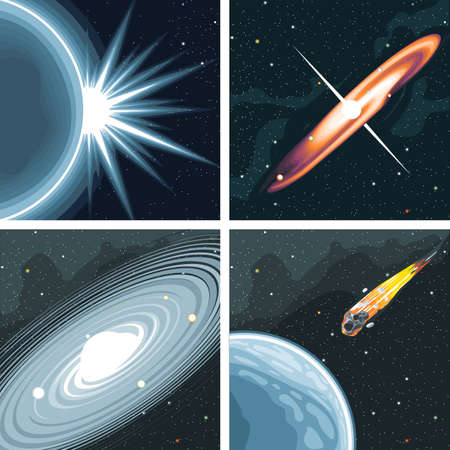 Digital vector cosmos icons set with galaxy, planet earth, commet, milky way and solar system over stelar background, flat style.