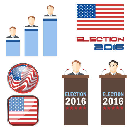 lectern: Digital vector election 2016 icon set with american flag, speakers, candidates, tribune and results over white background, flat style.