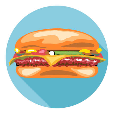 cheese burger: Digital vector tasty cheese burger in a blue circle, flat style.