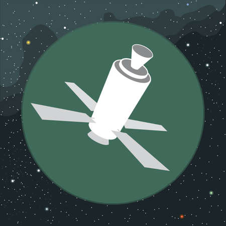 artificial satellite: Digital vector with space satellite icon, over background with stars, flat style