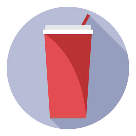 plastic straw: Digital vector red plastic soda drink can with straw in a purple circle, flat style.