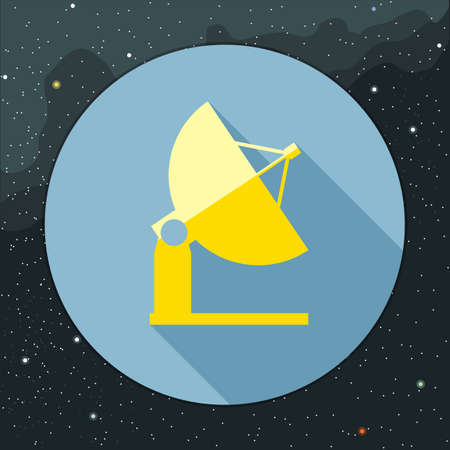 space antenna: Digital vector with yellow space antenna icon, over background with stars, flat style Stock Photo