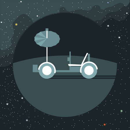 moon rover: Digital vector with moon rover vehicle icon, over background with stars, flat style
