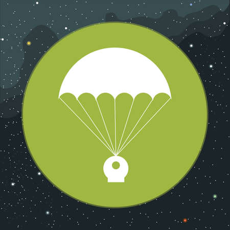 Digital vector with space capsule and parachute icon, over background with stars, flat style