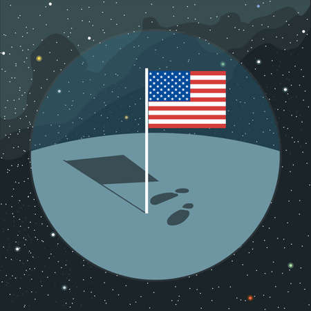 circa: Digital vector with american usa flag icon, planet, shadow and foot steps, over background with stars, flat style