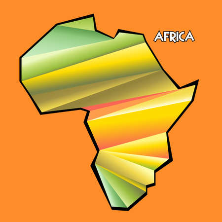 country nigeria: Digital vector africa map with abstract colored triangles and black outline, flat style