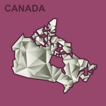 burgundy: Digital vector canada map with abstract silver triangles and burgundy outline, flat style