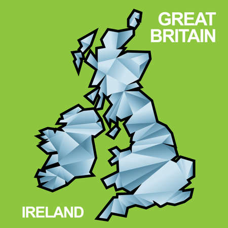Digital vector great britain and ireland map with abstract blue triangles and black outline, flat style